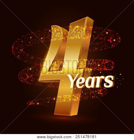 4 Years Golden Anniversary 3d Logo Celebration With Gold Glittering Spiral Star Dust Trail Sparkling