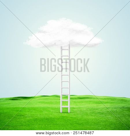 Illustration. Conceptual Image With Ladder Leading To White Blank Cloud Over Blue Background