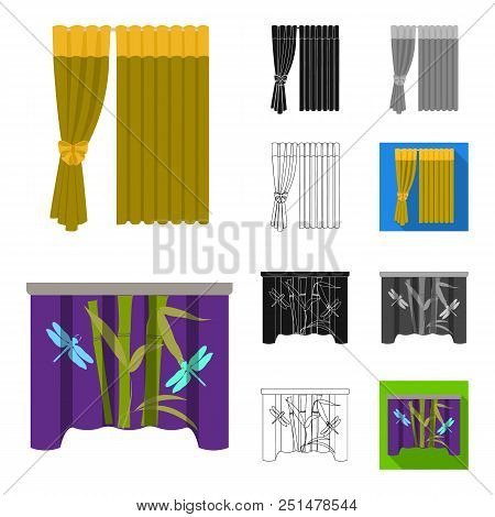 Different Kinds Of Curtains Cartoon, Black, Flat, Monochrome, Outline Icons In Set Collection For De