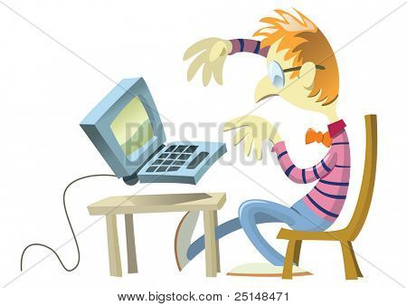 Young nerd sitting in front of his computer