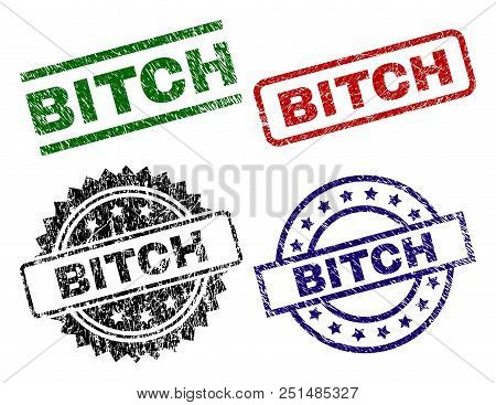 Bitch Seal Prints With Damaged Style. Black, Green, Red, Blue Vector Rubber Prints Of Bitch Caption