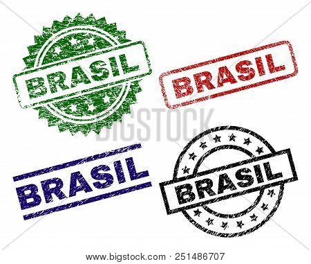 Brasil Seal Prints With Damaged Surface. Black, Green, Red, Blue Vector Rubber Prints Of Brasil Titl