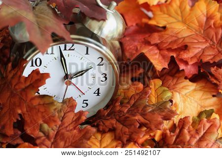 Vintage Alarm Clock Buried Underneath Colorful Fallen Autumn Leaves With Shallow Depth Of Field. Day