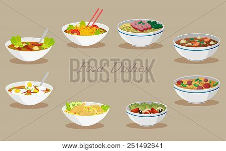 Collection Of Food Products. Tasty Soups And Salads. Vector Illustration.