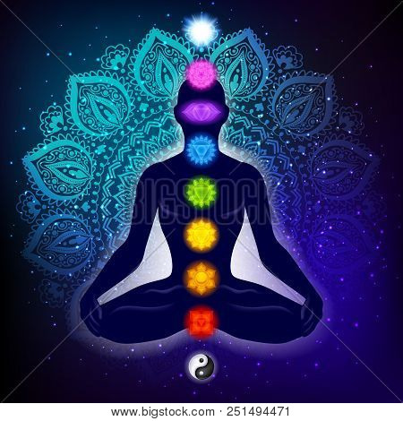 Meditating Human In Lotus Pose. Yoga Illustration. Colorful 9 Chakras And Aura Glow. Mandala Backgro