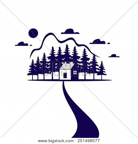 Country House Or Blue Home Icon For Real Estate Agency Or Ecology Home Concept. Vector Isolated Symb
