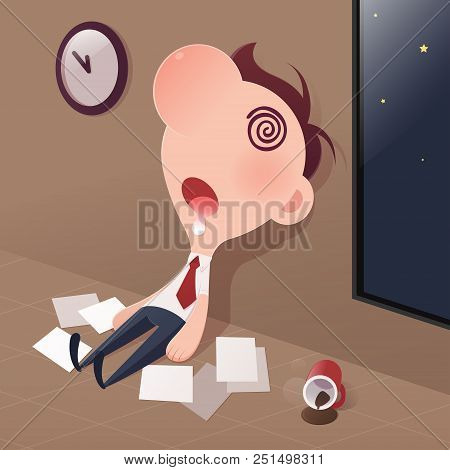 Cartoon Businessman Tired Sleep In The Office, Sleep Deprivation And Overtime Working Concept, Vecto