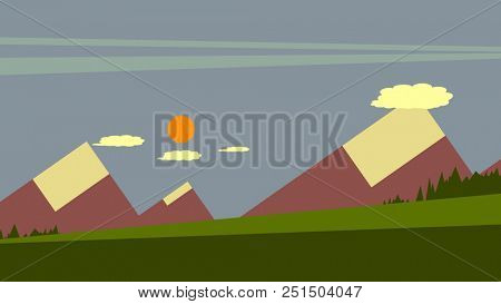 Illustration of a sunset in the mountains
