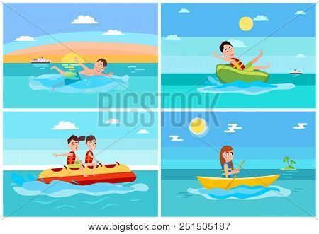 Sport And Activities Collection, Banana Boat And Donut Ride, Boating And Swimming Boy, Ship And Isla
