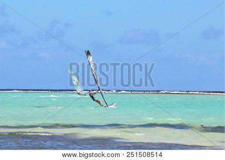 Kralendijk, Bonaire: 12/16/2017:  Wind Surfing On  Sorobon Beach On The Island Of Bonaire