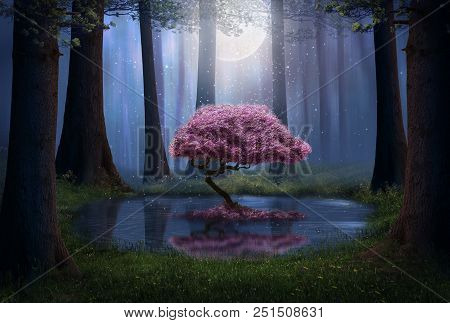 Pink Tree And Pond In The Forest At Night. Photomanipulation. 3d Rendering.