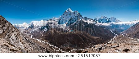 Panoramic View Of Ama Dablam (in The Middle) And Himalayan Mountains From Nangkar Tshang View Point