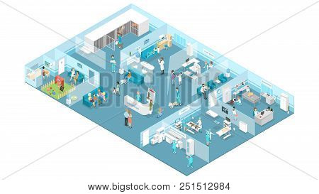 Veterinary Clinic Interior With Reception, Waiting Hall, Examination And Operating Rooms. Animal Tre