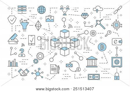 Blockchain Concept. Modern Digital Technology. Safe Financial Transactions. Cryptocurrency And Bitco