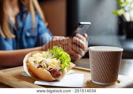 Lunch concept background. Young woman at meal time in cafe with hot dog and coffee distracted by smartphone poster