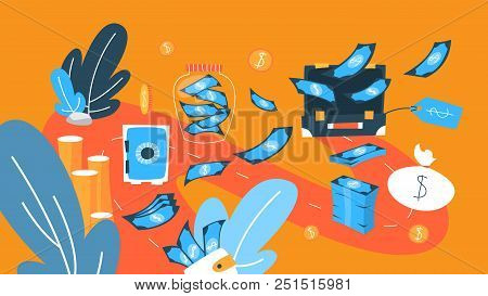 Money Concept Illustration. Cash, Banknotes And Credit Cards. Idea Of Finance And Economy. Set Of Co