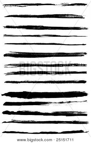 A set of grunge vector watercolor and ink  strokes (individual objects). Nice design elements for your projects