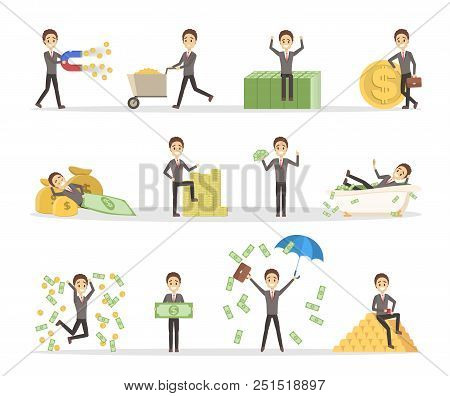 Set Of Businessman With Money. Happy Successfull Man Jumping With A Pile Of Money, Sitting On The Ba
