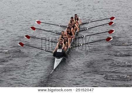 BOSTON - OCTOBER 23: Rose City Rowing Club youth men's Eights races in the Head of Charles Regatta.
