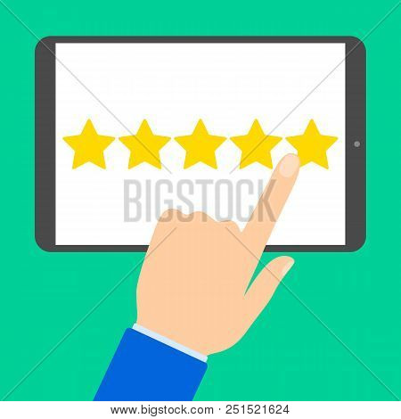 Positive Feedback Concept. Giving A 5 Star For A Best Product. Rating Feedback On The Website. Idea