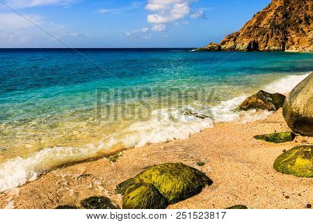Travel Photo In St. Barths, Caribbean. Bright View Of Daylight On Shell Beach, Caribbean.