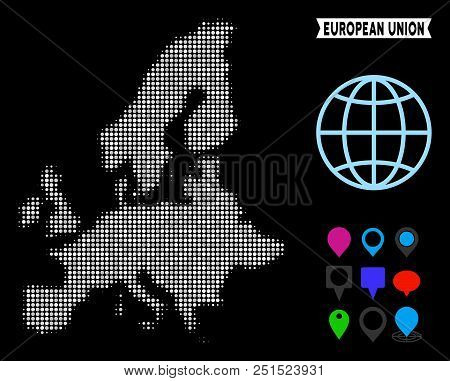 Bright Dotted Halftone European Union Map. Geographic Map In Bright Color Variations On A Black Back