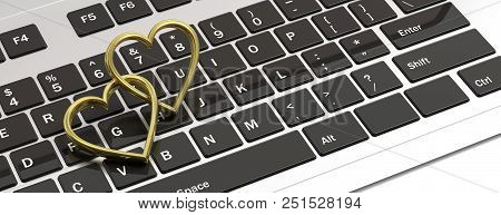 Online Dating. Pair Of Golden Wedding Rings Isolated On Computer Laptop Keyboard, Banner, 3d Illustr