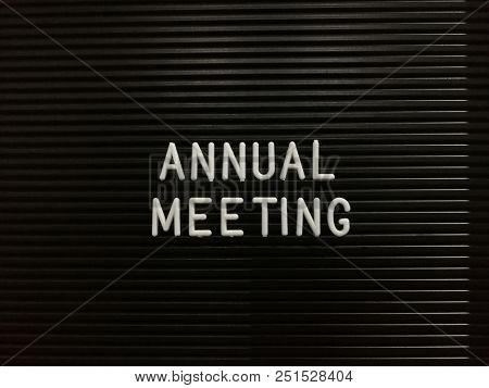 Annual meeting, written on letterboard