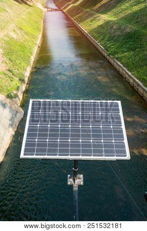 solar cells near the brook