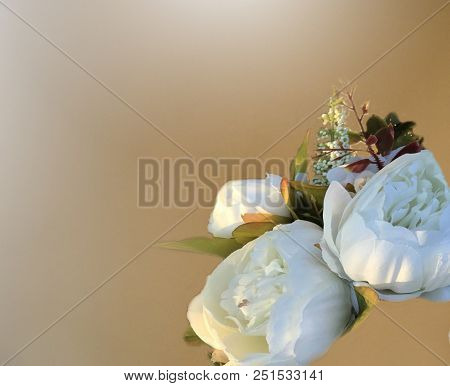 Wedding Bouquet Of White Flowers On A Light Background. Wedding Flowers On The Window. Wedding Backg
