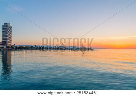Barcelona, Spain - June 8, 2018: Sunrise With Port Olimpic At Barcelona.