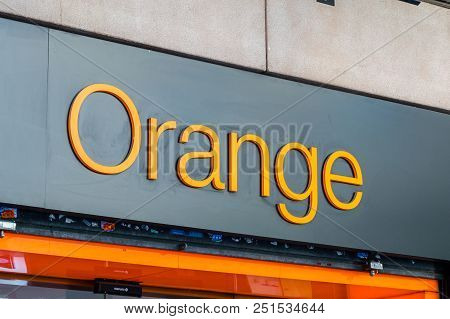 Barcelona, Spain - June 8, 2018: Logo And Sign Of Orange Mobile Company Belong To French Multination