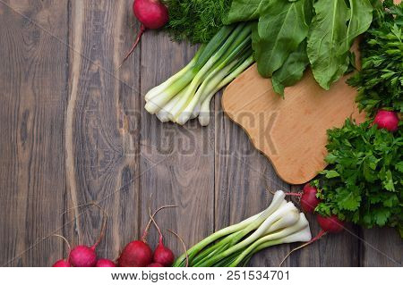 Helathy Vegan Food Cooking Background. Flat-lay Of Fresh Tomatoes, Radishes, Parsley, Spinach, Dill,