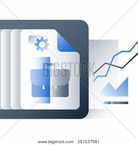 Investment portfolio performance report, business training course, company management, business summary, value assessment, vector icon, flat illustration poster