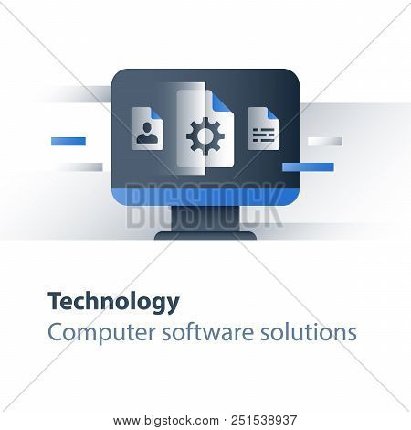 Computer technology, software development, business solutions, system upgrade and maintenance, vector flat icon poster