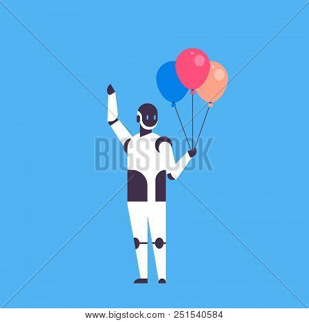 Modern Robot Holding Balloons Celebrating Event Helper Bot Artificial Intelligence Technology Concep