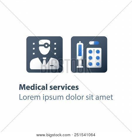 Pharmacy worker, medicine prescription, medical drugs, antibiotics capsule, painkiller pills, syringe and tablet bar, preventive vaccination, medication therapy, health care services, vector flat icon poster