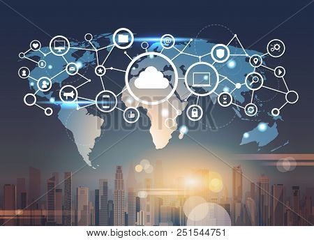 World Map Futuristic Interface Database Cloud Security Network Icon Data Privacy Connection Concept