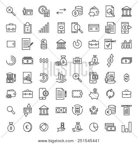 Set Of Premium Banking Icons In Line Style. High Quality Outline Symbol Collection Of Money. Modern