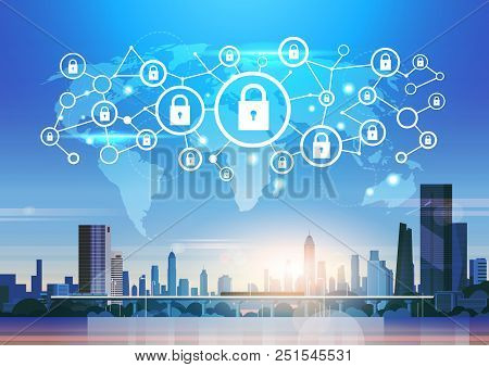World Map Futuristic Interface Padlock Icon Security Protection Network Data Privacy Connection Conc