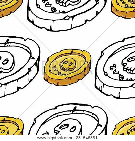 Pirate Coins Seamless Pattern. Vector Illustration Of An Old Coin With A Skull Seamless Pattern. Han