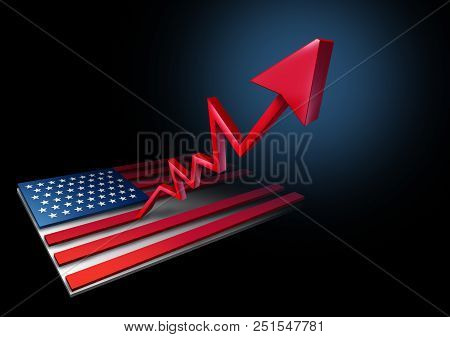 GDP United States growth rate and economic success with gross domestic product financial gains as a positive economy in the USA as a 3D illustration. poster