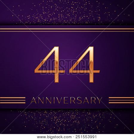 Realistic Forty Four Years Anniversary Celebration Design Banner. Golden Number And Confetti On Purp