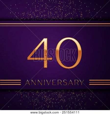 Realistic Forty Years Anniversary Celebration Design Banner. Golden Number And Confetti On Purple Ba