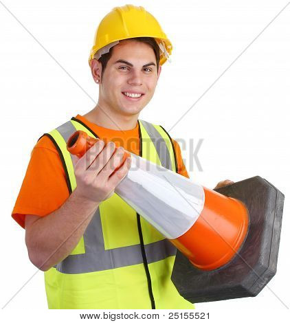 A Guy Holding A Road Cone