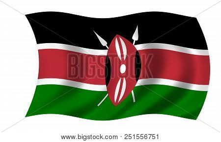 Waving Kenyan Flag In The Colors Red, Black, Green And White