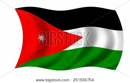 Waving Jordanian Flag In The Colors Red, Black, Green And White