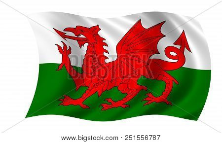 Waving Welsh Flag In The Colors Red, Green And White