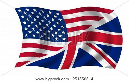 Waving Usa Uk Flag In The Colors Blue, Red And White