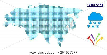 Icy Eurasia Map. Vector Geographic Scheme In Blue Ice Colors. Vector Pattern Of Eurasia Map Combined